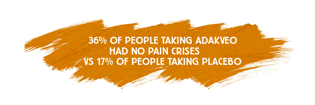 36% of people taking ADAKVEO had no pain crises compared with 17% for people taking placebo